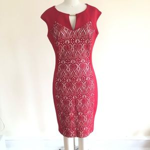 Red lace sequin sheath dress